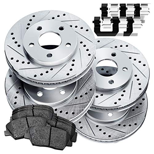 Fit 2004-2008 Acura TL PowerSport Full Kit Drill/Slot Brake Rotors Kit+Ceramic Pads