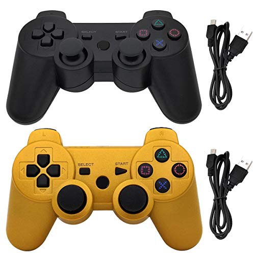 Ceozon PS3 Controller Wireless Playstation 3 Controller Bluetooth Gamepad for Playstation 3 Remote Joystick with Charging Cords 2 Pack Black + Gold