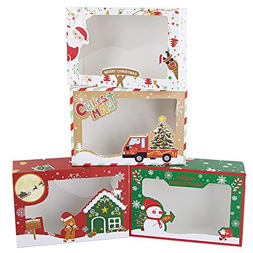 BETESSIN Cajas Papel Kraft 12pcs 22x15x7cm Cajas de Dulces Galletas Tartas Bombones Cupcakes para Fiesta de Navidad