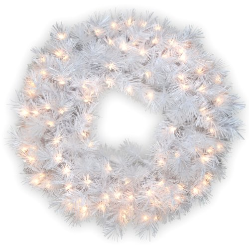 National Tree 30 Inch Wispy Willow Grande White Wreath with Silver Glitter and 100 Velvet Frost White Lights (WOGW1-304-30W-1)