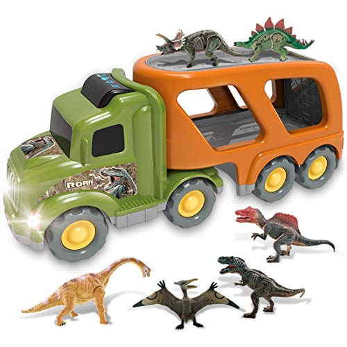 Dinosaur Truck Toys for 1 2 3 4 Years Old Toddlers Kids Boys and Girls, Jurassic World Toys, Friction Powered Car Carrier Trailer with Sound and Light