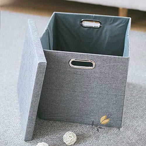 TOBY Folding Panier à Linge Grande, avec Couvercle Textile Panier de Rangement Facile de Transport Placard Salle de Bains Dorm-C 34x34x33cm(13x13x13inch)