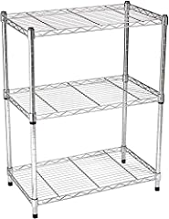 3-shelf shelving unit for your kitchen, office, garage, and more Each shelf holds up to 250 pounds (evenly distributed); total max load weight is 750 pounds Wire shelves adjustable in 1-inch increments; no tools required Durable steel construction wi...