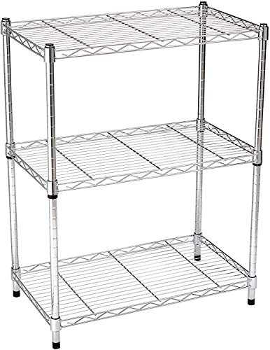AmazonBasics 3-Shelf Adjustable, Heavy Duty Storage Shelving Unit (250 lbs loading capacity per shelf), Steel Organizer Wire Rack, Chrome (23.3L x 13.4W x 30H)