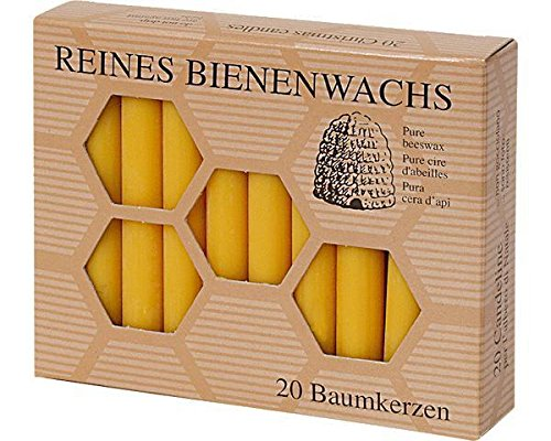 Aspinaworld 60 Stück Bienenwachs Baumkerzen 100/13 mm Christbaumkerzen