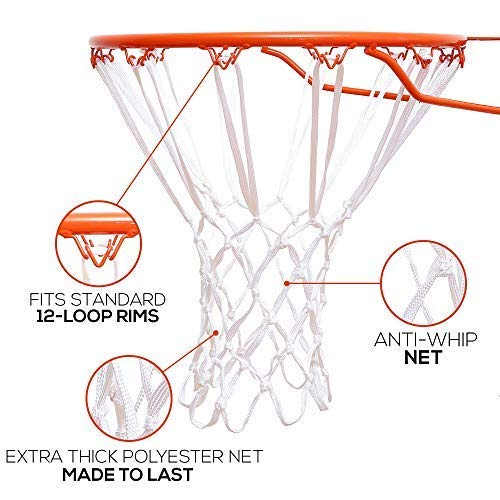 Better Line Premium Quality Professional Basketball Net All-Weather Heavy Duty Net, 12 Loops (White)