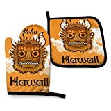 FJAR8 Juego de guantes de horno y soporte para ollas, 2 piezas, Aloha Hawaii Tiki Hojas Fondo Im Set de regalo de cocina para cocina, hornear, barbacoa