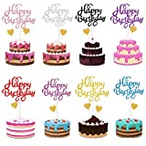 34 Pcs Happy Birthday Cake Topper, Decoración para Tarta para Niñas Mujeres Niños Decoración de Pastel Cumpleaños, Oro Corazones Cake Cupcake Topper Suministros de Purpurina para Fiestas (8 Colores)