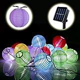 Lamker 30 LED Guirlande Lumineuse Solaire Lampion Lanterne Etanche Extérieur Chaîne Lumière Décorative pour Jardin Terrasse Mariage Noël Fête Cour Couloir Maison Multicolore