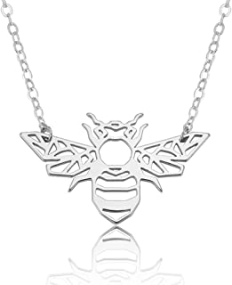 patcharin shop Minimalist Hollow Animal Origami Bee Shaped Pendant Necklace Fashion Jewelry Color Silver