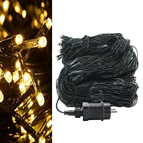 LARS360 Warmweiß LED Lichternetz 3x2m - 320er LEDs Lichterkettenvorhang Lichterkette Deko Lights Leuchte für Innen Außen Weihnachten Halloween Hochzeit Party oder Stimmung Lichter mit Stecker