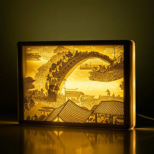 3D Light and Shadow Paper Carving lamp Decoration Finished Ancient Style Three-Dimensional Cultural and Creative Desk lamp Bedside lamp Custom Birthday Qingming Shanghe map Button Switch