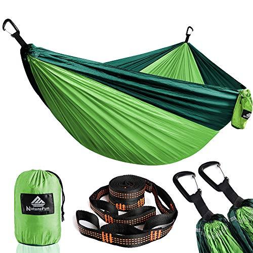 NATUREFUN Ultraleichte Reise Camping Hängematte | 300kg Tragkraft, (300 x 200 cm) Fallschirm Nylon | 2 x Premium Karabiner, 2 x Nylon-Schlingen Inbegriffen | Für Draußen Drinnen Garten