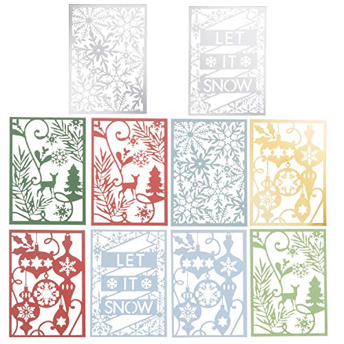 Martha Stewart 30068356 Laser Cut Christmas Icons Paper Shapes, Multicolor