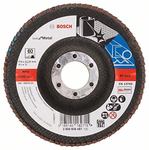 Bosch Professional Fächerschleifscheibe (für Winkelschleifer verschiedene Materialien, Ø 115 mm, Körnung 60)