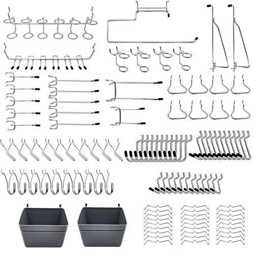 Abimars Juego de estanterías para tablero de clavijas y accesorios para tableros de clavijas con papeleras, cerraduras para organizar varias herramientas, 123 unidades