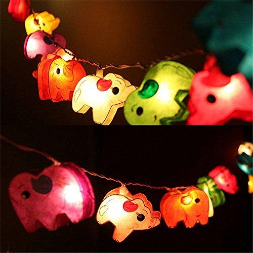 GZMAY Night Light Elephant Paper String Light 10ft 20LEDs Fairy Light LED Strip Night Lamp for Kids Room Party Holiday Light US Plug