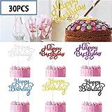 30Piezas Feliz cumpleaños, Torta, Topper Papel Dorado Cupcake Topper de Pastel versátil y Duradero Suministros de Fiesta de cumpleaños Decoraciones- 6 Colores
