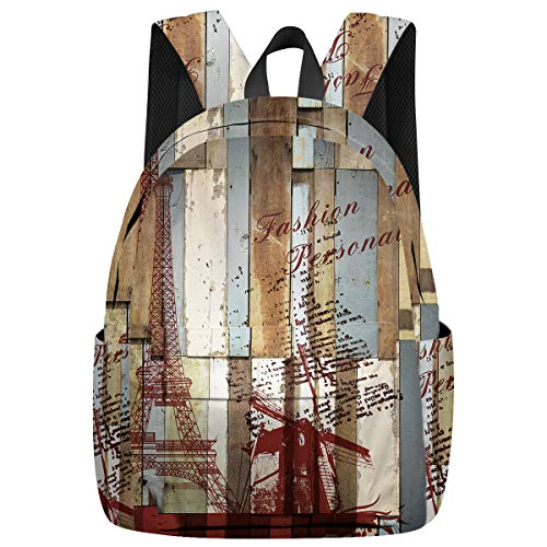 Student College Backpack,Shoulder Bookbags,Travel Backpack,Laptop Bag,Wooden Board Eiffel Iron Windmill Fashion (15.7x11.8x6.7in) Best Backpacks for Teen Boys and Girls