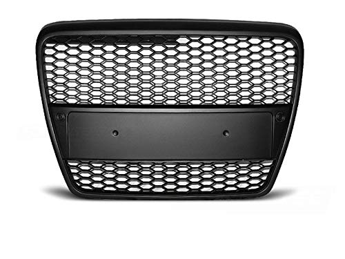 RS6 Front Honey comb Grill voor A6 C6 4F 04-11 BLACK MATT