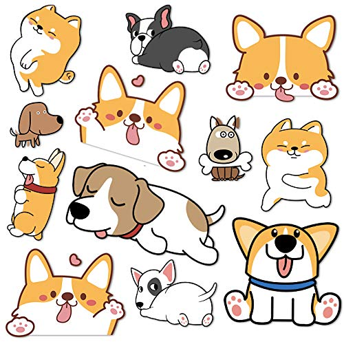 WOCAO Etiqueta engomada Linda del Coche de la batería del teléfono móvil del Ordenador portátil de la Maleta de la Etiqueta engomada del Perro del Animal doméstico del Corgi de la Historieta