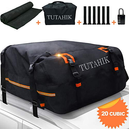 TUTAHIK 20 Cubic ft Car Rooftop Cargo Carrier Bag,Expandable Waterproof Top Luggage Carrier Bag for...