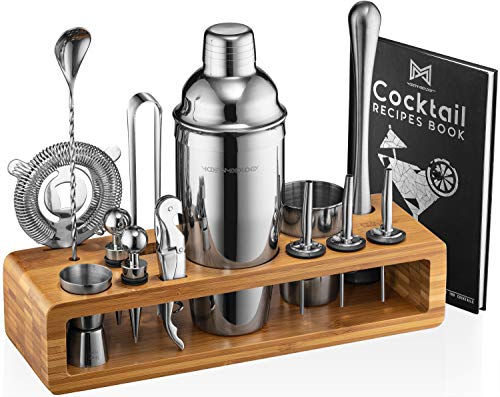 Mixology Bartender Kit: 23-Piece Bar Set Cocktail Shaker Set with Stylish Bamboo Stand | Perfect for Home Bar Tools Bartender Tool Kit and Martini...