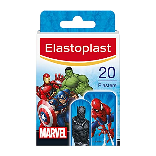 Elastoplast Marvel Pflaster, 20 Stück (verschiedene Größen), farbige Erste-Hilfe-Pflaster für Kinder, Kinderpflaster mit Marvel Superhelden-Designs, verschiedene Größen Pflaster