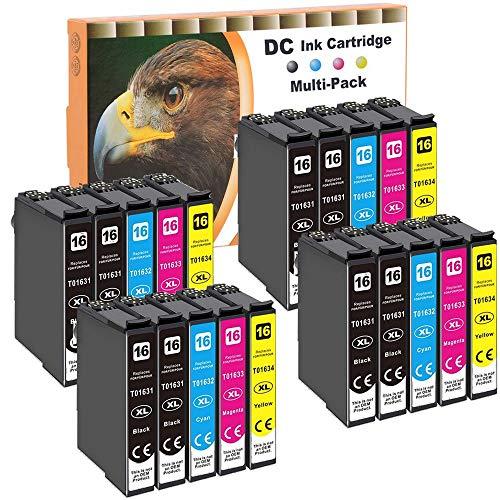 D&C 20x Druckerpatronen Kompatibel für Epson 16 16XL Workforce WF-2760DWF WF-2760 WF-2540 WF-2660 WF-2750 WF-2650 WF-2510 WF-2520 WF-2530 WF-2010 WF-2660DWF WF-2700 WF-2010W WF-2500WF WF-2520NF 2520