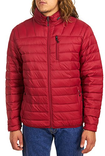 Hawke & Co Men's Packable Down Jacket Hidden Hood, Chili Pepper, M