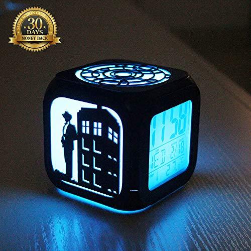 XLBAXLJ Doctor Who 3D Stereo Wecker, LED-Nachtlicht-LED-Anzeige Schnitzen Hohl Abbildung Silhouette Batterie Powered USB für Nacht Schlafzimmer Arbeitszimmer