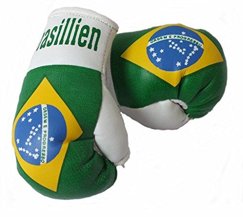 Mini Boxhandschuhe BRASILIEN, 1 Paar (2 Stück) Miniboxhandschuhe z. B. für Auto-Innenspiegel
