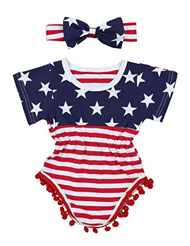 4th of July Toddler Baby Girl Romper American, Blue-red-white, Size 0-3 Months