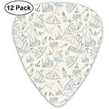 Anchor Bird Boat Pattern Picks Guitar Set 12 Picks Ukulele, Incluant 0,46 Mm, 0,71 Mm, 0,96 Mm Guitare Acoustique Pick And Pick Box