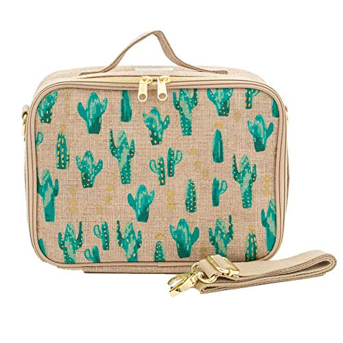 SoYoung Lunch Bag - Raw Linen, Eco-Friendly, Retro-Inspired and Easy to Clean (Cacti Desert)
