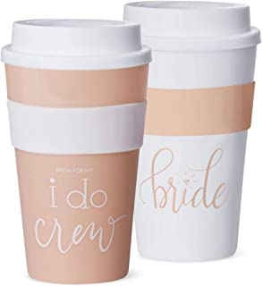 Hot & Cold Coffee Tumblers - Bachelorette Bridal Party & Wedding Shower Drink Glasses, Favors, Supplies + Accessories to Celebrate Bride-to-Be (Set of 11, I Do Crew - Pink Blush)