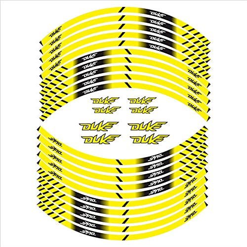 Etiquetas engomadas de la Motocicleta, Etiquetas engomadas del Cubo de Ruedas, Pegatinas de llanta, película Adecuada para KTM Duke Decoración de la Motocicleta (Color : Yellow)
