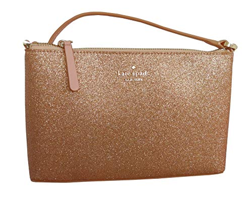 """Kate Spade New York Glitter Crossbody Bag Raised Kate Spade New York name and logo on front Crossbody shoulder strap Drop 21"""" Interior features Spade logo fabric lining and 1 slide pocket Approximate dimensions: 9.5"""" x 6"""" x 2"""""""