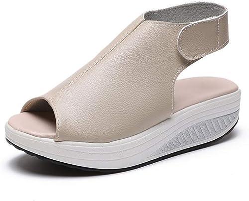 Sandales, gateau éponge, Fond épais, Velcro Confortable, Chaussures à Bascule légères-beige-38