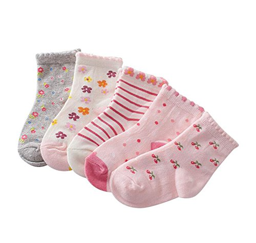 ZETIY Baby Mädchen 5er Pairs Niedliche Fußsocken Erstlingssocken Füßlinge Socken (Rosa, 19-22)