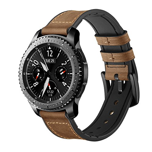 Maxjoy for Gear S3 Bands, Galaxy Watch 46mm Bands, 22mm Hybrid Sports Band Vintage Leather Sweatproof Replacement Strap with Metal Clasp for Samsung Gear S3 Frontier/Classic Smart Watch Dark Brown