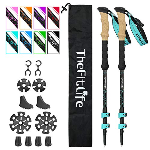TheFitLife Carbon Fiber Trekking Poles – Collapsible and Telescopic Walking Sticks with Natural Cork Handle and Extended EVA Grips, Ultralight Nordic Hiking Poles for Backpacking Camping (Turquoise)