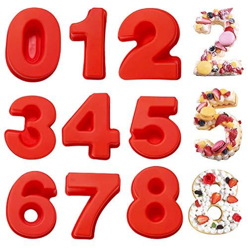 Zahlen Kuchenformen-Sets,9-teilige Silikon-Backformen,Kuchenform 0-8 Zahlen Set,Kuchenform-Backformen für Hochzeit, Silikon-Backformen,Kuchen Zahlenform,Zahlenform Kunststoffschablonen