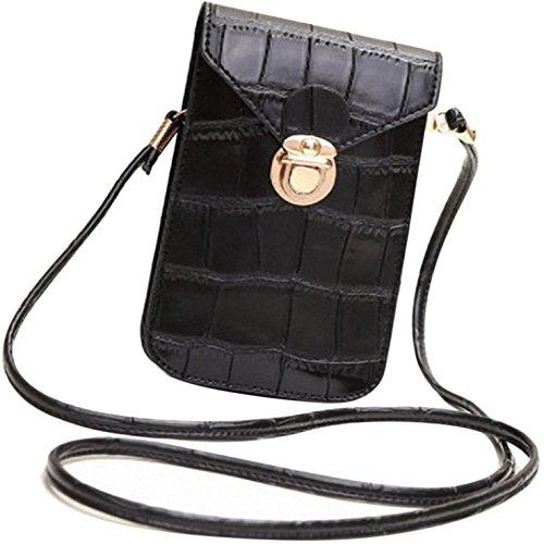 HeHe Mini telefoonhoesje van PU-leer, kleine schoudertas met veel vakken voor dames en meisjes, geschikt voor iPhone 7 Plus