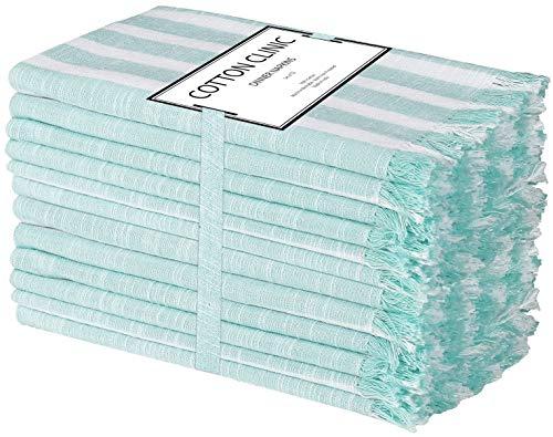 Clinica de Algodón Paquete de 12 Servilletas de Tela 50 x 50 cm, Servilletas de 100% Algodón, Calidad de Hotel Duradera, para Eventos y Uso Doméstico Regular Azul Claro Blancas