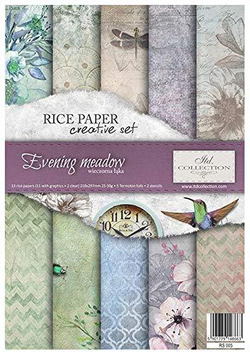 ITD Collection - Carta di Riso Set Creativo A4, Decoupage Scrapbooking, 29,7 x 21 cm Multicolore (Evening Meadow)