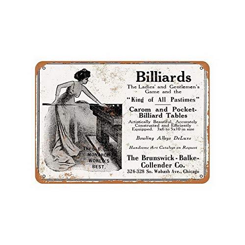 ABLERTRADE Blechschild, 20,3 x 30,5 cm, Brunswick Carom und Pocket Billard, Vintage-Look, Reproduktion