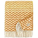 Linen und Cotton Luxus Warme Decke Wolldecke Bunt Wohndecke Kuscheldecke Aurora - 100prozent Reine Neuseeland Wolle, Gelb Senf/Beige (130 x 170cm) Sofadecke/Überwurf/Plaid Couch Sofa/Schurwolle Blanket