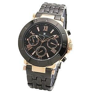 [ Salvatore Marra ] サルバトーレマーラ 腕時計 メンズ (クォーツ/ステンレススチール) ビジネス 防水 (ピンクゴールド ブラック) クロス付 PGBK [並行輸入品]