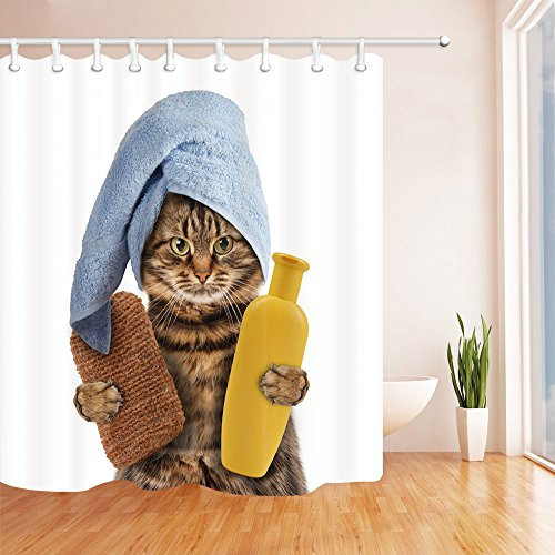 Shocur Brown Cat Shower Curtain, Cute Pets with Bath Sponge Shampoo and Blue Towel, Funny Kids Theme Design, 69 x 70 Inches Polyester Fabric Bathroom Decor Set with 12 Hooks